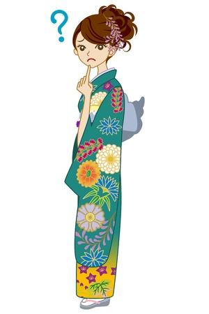 Green Kimono woman,Question Stock Vector - 17023464