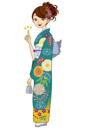 Green Kimono woman Stock Vector - 17023452