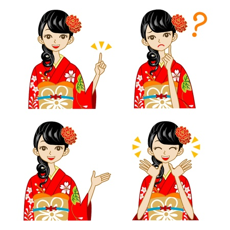 pointing up: Variety of facial expressions,  Red Kimono woman