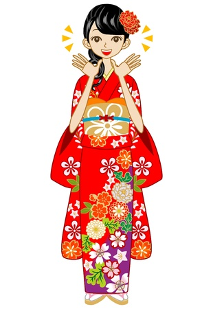 whole body: Happy Kimono woman,Red color