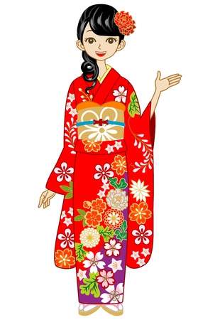Red Kimono woman, Guide Stock Vector - 17023693