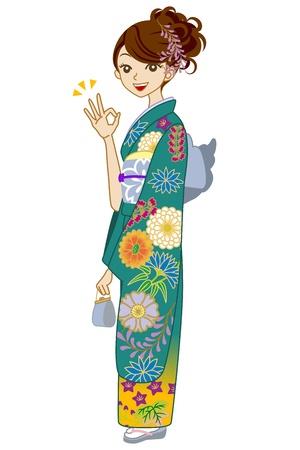 Green Kimono woman,OK Sign Stock Vector - 17023455