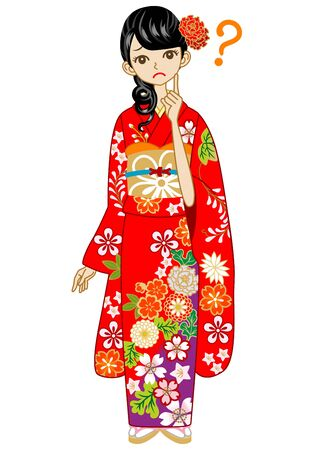 Red Kimono woman, Question Stock Vector - 17023696
