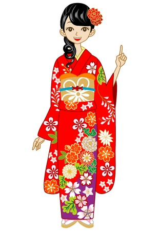 Red Kimono woman Stock Vector - 17023694