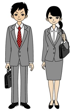 back to back couple: Young Business Woman -Asian-,full length