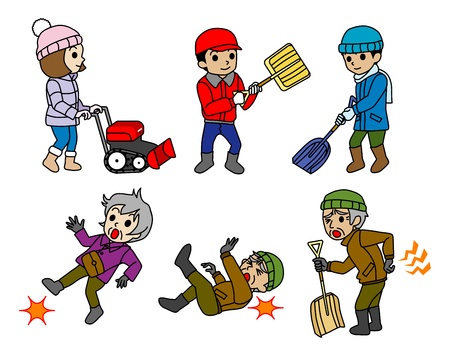 lumbago: Winter people   Snow removal,Snowplow,winter Risk of elderly Illustration