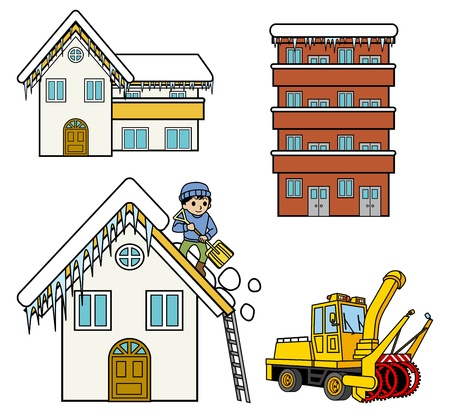 Remove the snow from the roof, snowplough,Winter house Vector