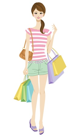 teenagers having fun: Young woman shopping,casual style Illustration