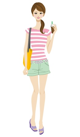 Young woman take a drink,casual style Stock Vector - 17250892