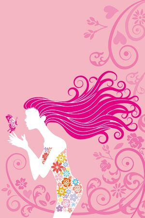 Spring image woman and butterfly Stock Vector - 17250896