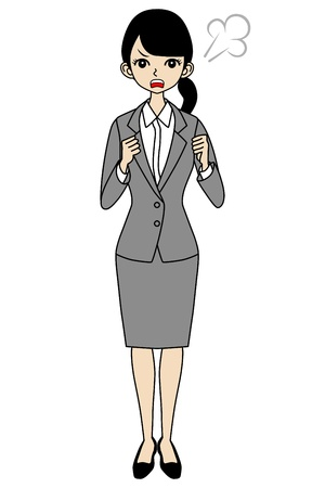 full length woman: Angry Businesswoman Illustration