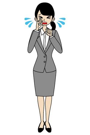 泣いている女性実業家