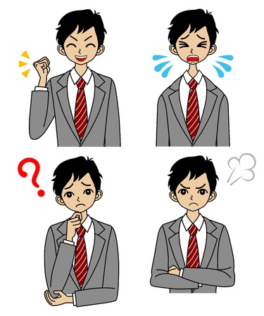 rookie: Young Businessman,Emotional Face set