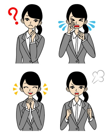 frustrated: Young Businesswoman Emotional Face set