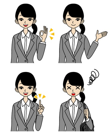in trouble: Young Businesswoman, Face set, guide and trouble Illustration