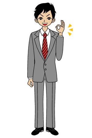 job hunting: Businessman OK sign Illustration