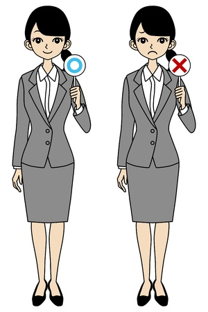 Businesswoman, correct and error Stock Vector - 17250941