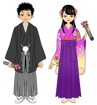 japanese kimono: Young Couple wearing Hakama Illustration