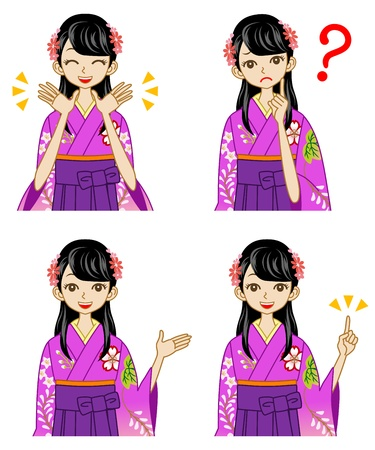 Hakama woman facial expression set Stock Vector - 17255213