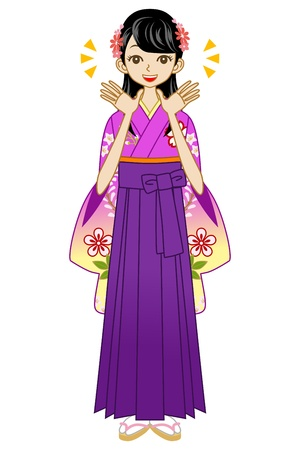 Hakama woman smiling Stock Vector - 17254793