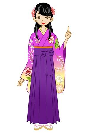 back view student: Hakama woman point Illustration