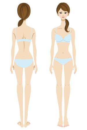 thighs: Mujer joven en ropa interior, frontal y vista posterior, de cuerpo entero