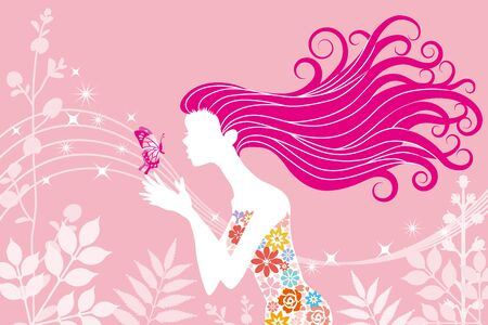 Spring image woman and butterfly Vector