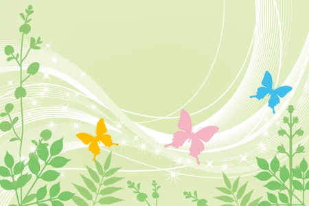 breeze: Three butterflies and spring plants Illustration