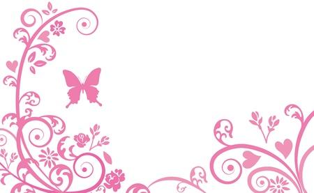 蝶と植物のシルエット