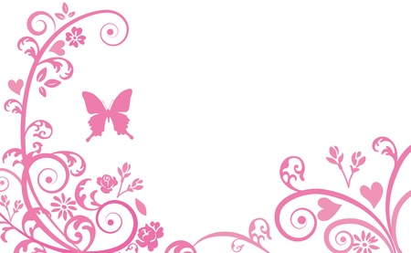 Silhouette of butterfly and plants Vector