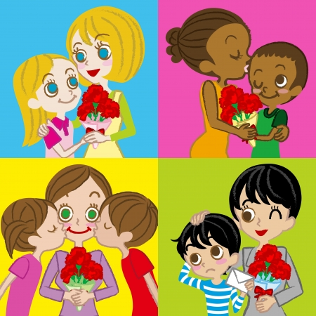 children s: Mother s Day image, various Mother and children Illustration