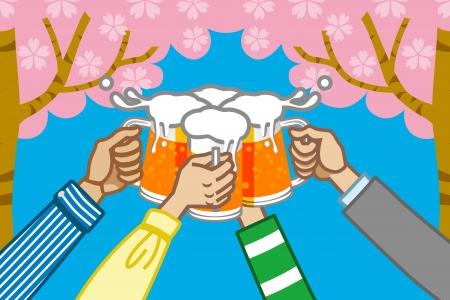 steins: toast beer,cherry tree background Illustration