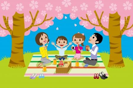 お花見の家族  イラスト・ベクター素材
