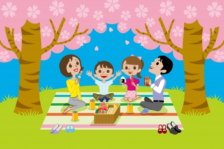 cherry-blossom viewing,family 일러스트