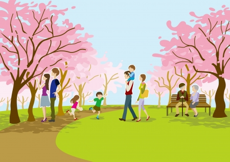 cherry-blossom viewing people on park Vector
