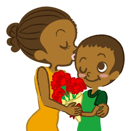 Mother s Day image ,African Mother and son  Illustration