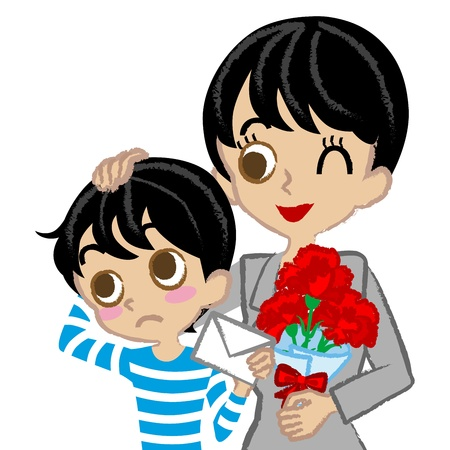 Mother s Day,Mother and son,Asian Vector