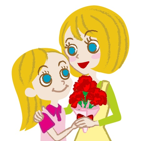Mother s Day,Mother and daughter, European-blonde- Vector
