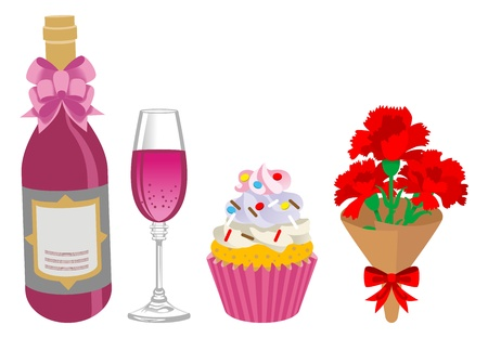 Mother s Day gift, Alcohol and sweets  Vector