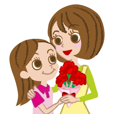 Mother s Day,Mother and daughter  Stock Vector - 17632025