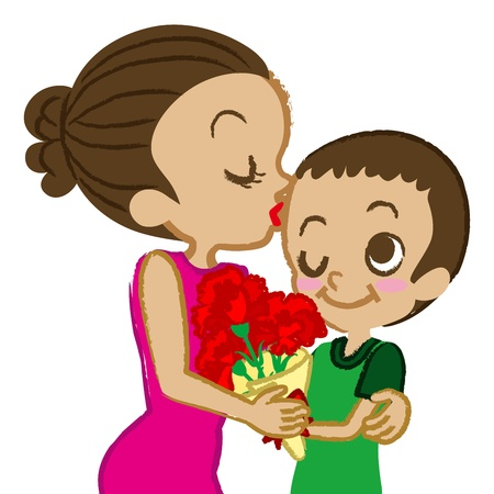 Mother s Day,Mother kissing son Stock Vector - 17632013
