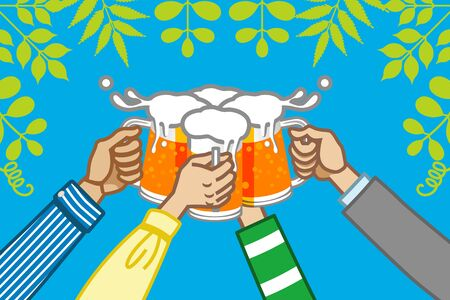 steins: toast  with beer , in nature Illustration