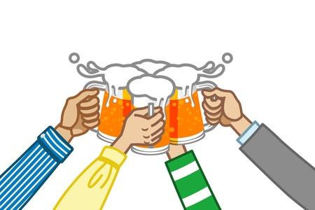 ビールで乾杯、白いバック