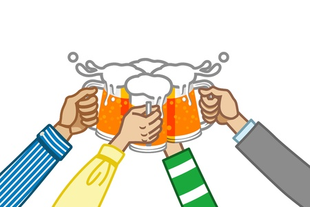 cheers: toast with beer,white back