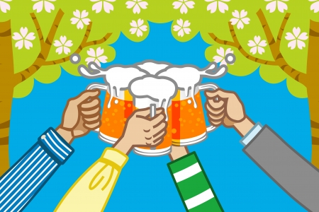 steins: toast  with beer,tree background