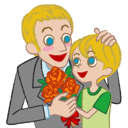 kid s illustration: Father and son - blond Illustration