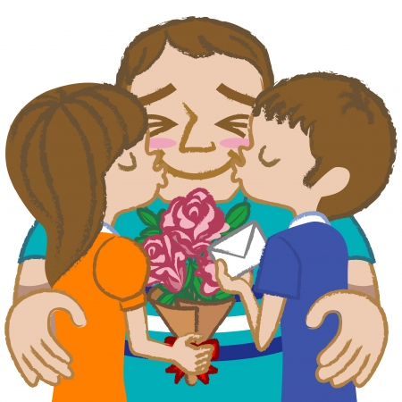 Father and children- brunette Vector