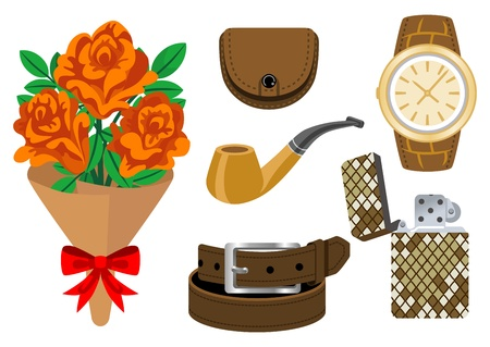 Accessories and bouquet, Father s Day gift Stock Vector - 17954959