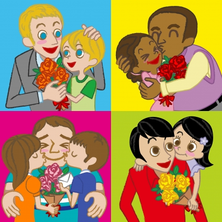 Various Father and children , Happy Father s Day image  イラスト・ベクター素材