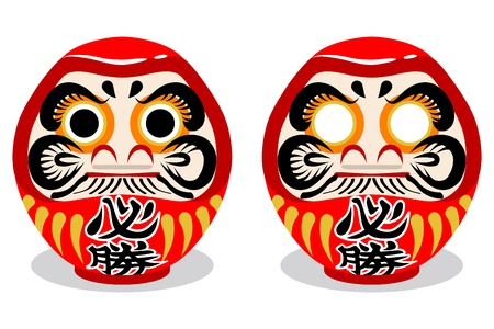 Two Japanese Daruma dolls